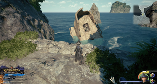 The High Seas / Southern Waters: Head to Ship's End Island and climb to the rock island. Follow the path to its end and look down.