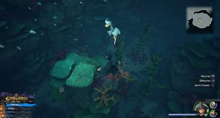 The High Seas / Sandbar Isle: Travel to the island across the stone pillars and head East to the pool of water. Dive into the water and look directly below.