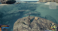 The High Seas / Sandbar Isle: On a rock jutting from the water.