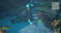 The High Seas / Sandbar Isle: Jump into the water slightly South of the large rock protruding from the water.